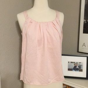 Merona Shell Pink Tank Top S Detailed Pintuck Neck
